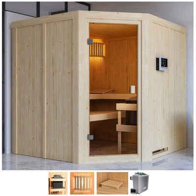 Karibu Sauna »Käthe«, BxTxH: 196 x 196 x 198 cm, 68 mm, 9-kW-Ofen mit ext. Steuerung