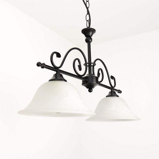 Licht-Erlebnisse Pendelleuchte »DOROTHEA Hängelampe im Landhausstil Deckenlampe Schwarz Alabaster Glas Lampe«