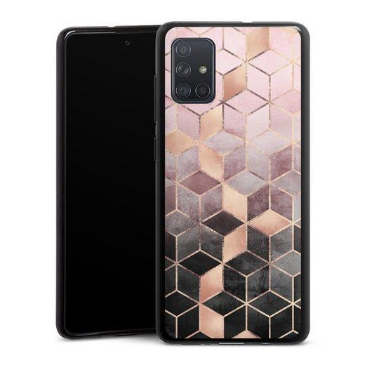 DeinDesign Handyhülle »Pink Grey Gradient Cubes Glitter Look« Samsung Galaxy A71, Hülle Würfel Elisabeth Fredriksson Gold & Kupfer