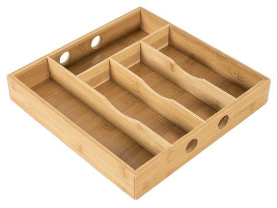 elbmöbel Besteckeinsatz »Besteckkasten 5 Schublade Geschirrkasten Bambus braun 30x30x5 cm«, Passt in fast alle gängigen Schubladen
