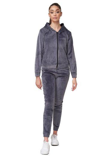 Egomaxx Trainingsanzug »3487«, Damen Nicki Velours Sportanzug Stretch Bund Softer Trainingsanzug