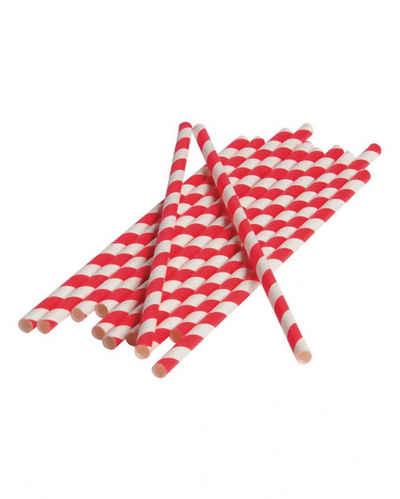 Horror-Shop Einweggeschirr-Set »Rot-weiße Party Strohhalme aus Papier 12 Stück«, Papier