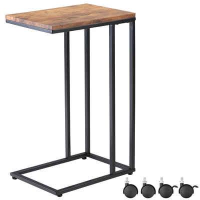 Casaria Beistelltisch, Sofatisch mit Rollen Kaffeetisch Wohnzimmer Bettisch Industrie-Design Holz Metall Stabil - Schwarz