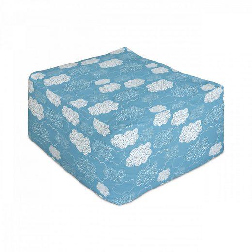 Abakuhaus Pouf »Unter Tisch Fußhocker für Wohnzimmer Büro Ottomane mit Abdeckung«, Blauer Himmel Gepunktete Fluffy Illustration