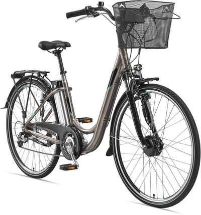 Telefunken E-Bike »Multitalent RC820«, 7 Gang Shimano Shimano Acera Schaltwerk, Kettenschaltung, Frontmotor 250 W, (mit Fahrradkorb)