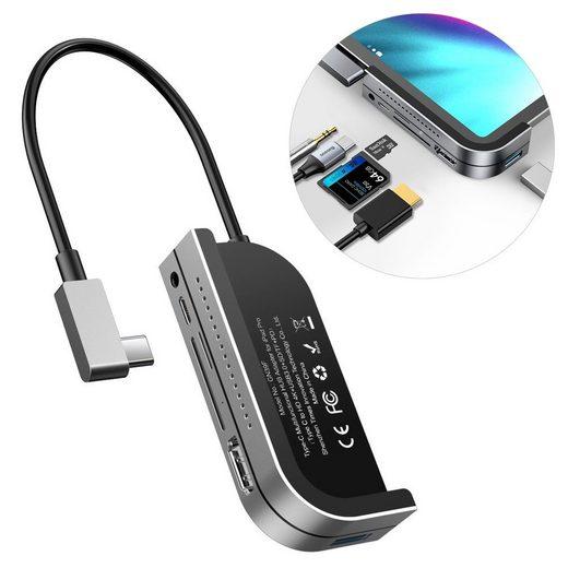 Baseus »Baseus Adapter HUB Adapter mit USB Typ C auf USB 3.0 / 4K HDMI / Kartenleser TF,SD / USB Typ C PD / 3.5mm mini Jack dunkel grau« HUB