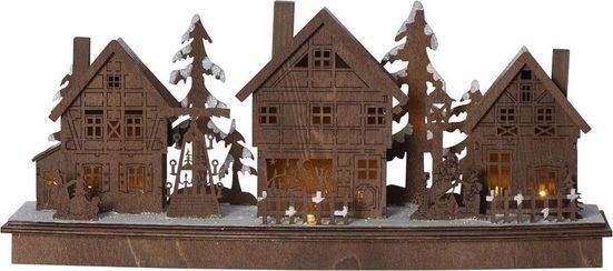 """STAR TRADING Weihnachtshaus »LED-Leuchthaus """"Mainz"""" - 10 warmweiße LED - Batteriebetrieb - H: 21cm, L: 45cm - braun«, Batteriebetrieb"""