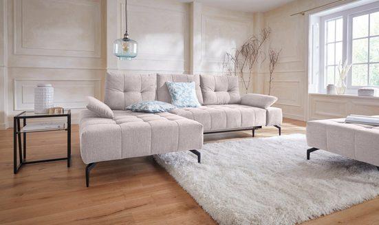 Guido Maria Kretschmer Home&Living Ecksofa, Inklusive Sitztiefenverstellung, Armteilverstellung, Metallfuss