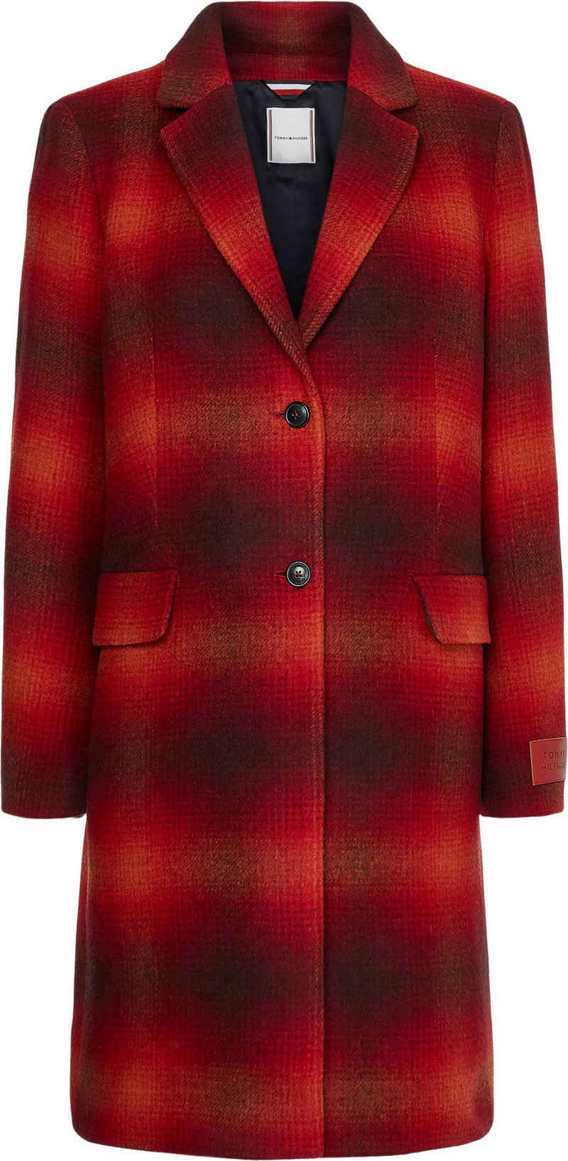 Tommy Hilfiger Wollmantel »WOOL BLEND CHECK CLASSIC COAT« mit Karomuster