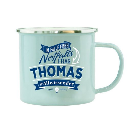 HTI-Living Becher »Echter Kerl Emaille Becher Thomas«, Emaille