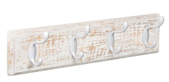 Lashuma Hakenleiste »Weiß«, Garderobe Flur 45x10 cm, 4x Wandhaken Vintage