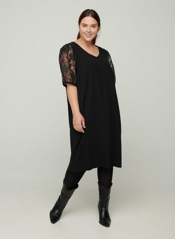 Festtagsmode - Zizzi Abendkleid Große Größen Damen Kleid mit kurzen Spitzenärmeln und V Ausschnitt ›  - Onlineshop OTTO