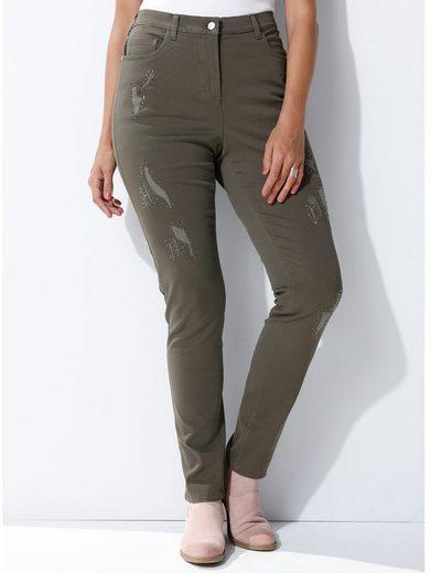 MIAMODA Jeans vorne am Bein mit Nieten besetzt