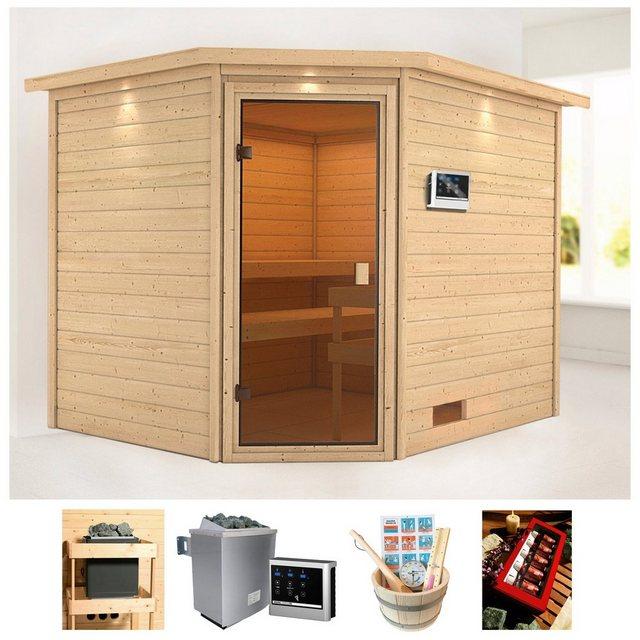 Saunen und Zubehör - KARIBU Sauna »Wangerooge 5«, 258x209x191 cm, 9 kW Ofen mit ext. Steuerung, Dachkranz  - Onlineshop OTTO
