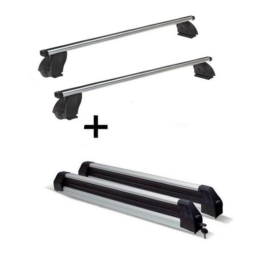 VDP Fahrradträger, Skiträger Silver Ice ausziehbar + Dachträger K1 PRO Aluminium kompatibel mit Opel Combo Van (Long Version) 12-18