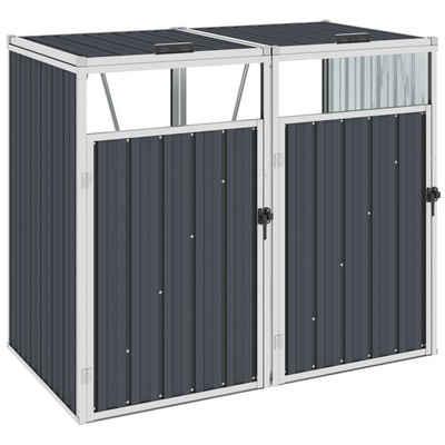 vidaXL Mülltonnenbox »vidaXL Mülltonnenbox für 2 Mülltonnen Anthrazit 143×81×121 cm Stahl«