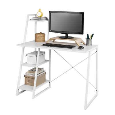 SoBuy Schreibtisch »FWT29«, Computertisch Arbeitstisch mit 3 Ablageflächen