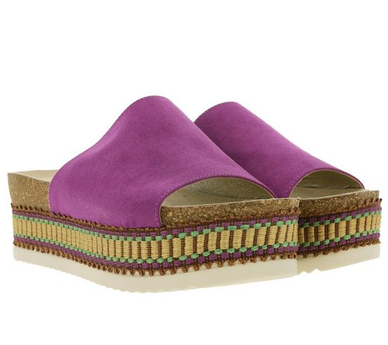 Bullboxer »BULLBOXER Plateau-Sandale super stylische Damen Pantolette mit ausgefallener Sohle Sommer-Schuhe Violett« Plateausandale