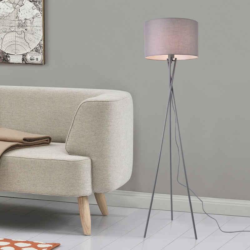 lux.pro Stehlampe, lux.pro Stehlampe, »Grenoble« Stehleuchte 154cm Design Dreifuß Lampe grau