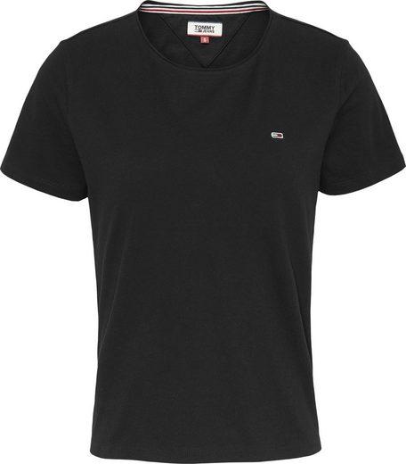 TOMMY JEANS Rundhalsshirt »TJW SLIM JERSEY C NECK« mit Tommy Jeans Logo-Flag auf der Brust