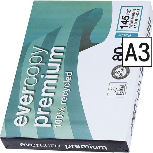 CLAIREFONTAINE Recyclingpapier »Everycopy Premium«, Format DIN A3, 80 g/m²