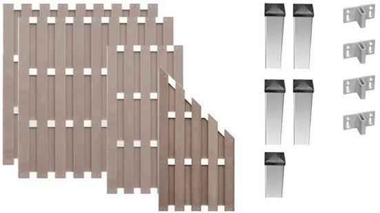 T&J Bohlenzaun »Jersey 1«, (Set), 4 Elemente, LxH: 575x180 cm