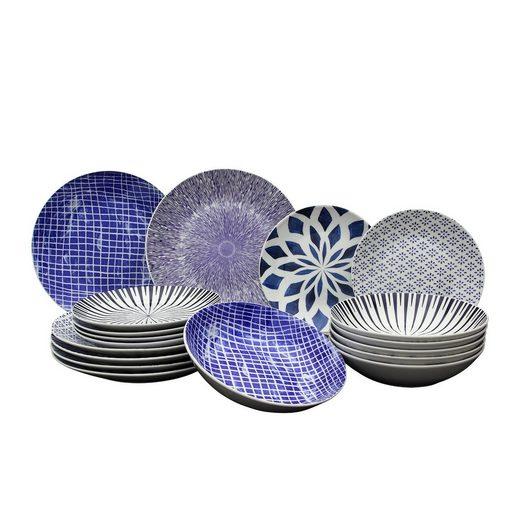 Neuetischkultur Tafelservice »Tafelservice 18-teilig Seoul blue« (18-tlg), Porzellan