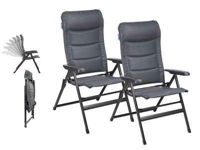 Campart Campingstuhl (2 Stück), Alu Hochlehner Klappstuhl SET Relax-Stuhl Garten Balkon, Campingmöbel & Garten-Stühle als Klapp-Liegestuhl gepolstert, Outdoor Garten- & Camping-Sessel Falt-Stuhl XXL klapp-bar