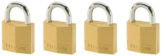 Master Lock Vorhängeschloss, Sicherheitsklasse 4, (Set, 4-tlg), Messing, gleichschließend
