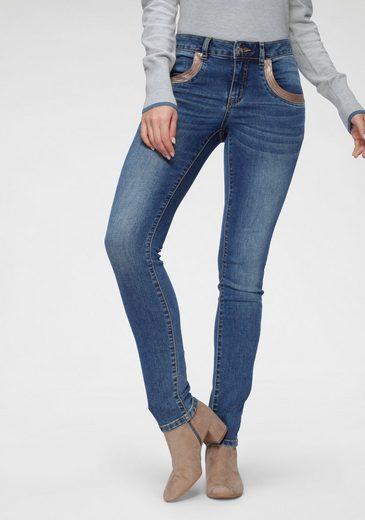 TOM TAILOR Polo Team Slim-fit-Jeans mit Pailletten Verzierung am Tascheneingriff