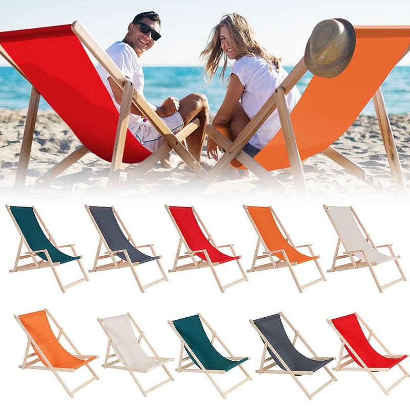 Mucola Gartenliege »Strandliege Holz Liegestuhl Gartenliege Sonnenliege Strandstuhl Faltliege Freizeitliege Terassenliege Balkonliege Campingliege« Sicher gegen ungewolltes Zusammenklappen