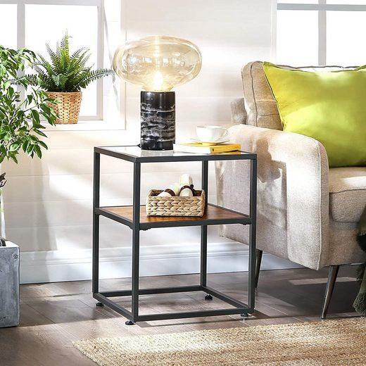 VASAGLE Beistelltisch »LET03BX«, Beistelltisch, Nachttisch, Glastisch, Sofatisch, vintage