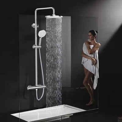 Rainsworth Duschsystem, Höhe 84 cm, 3 Strahlart(en), Komplett-Set, 9 Inch Regendusche Duschsystem»,Höhe 840-1180mm, Hochdruck Duschkopf, Thermostat Duscharmatur mit Höhenverstellbarer Duschstange