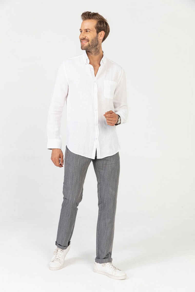 GABANO Leinenhemd »Leinenhemd in 100% Leinen mit Button-Down Kragen« Garment-Dye effekt