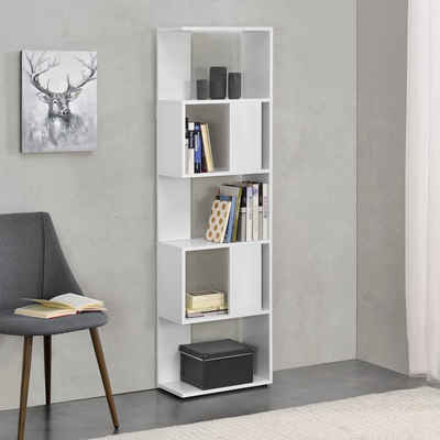 en.casa Bücherregal, »Aneby« Standregal Mehrzweckregal mit 5 Ablageflächen 159x45x24cm Weiß