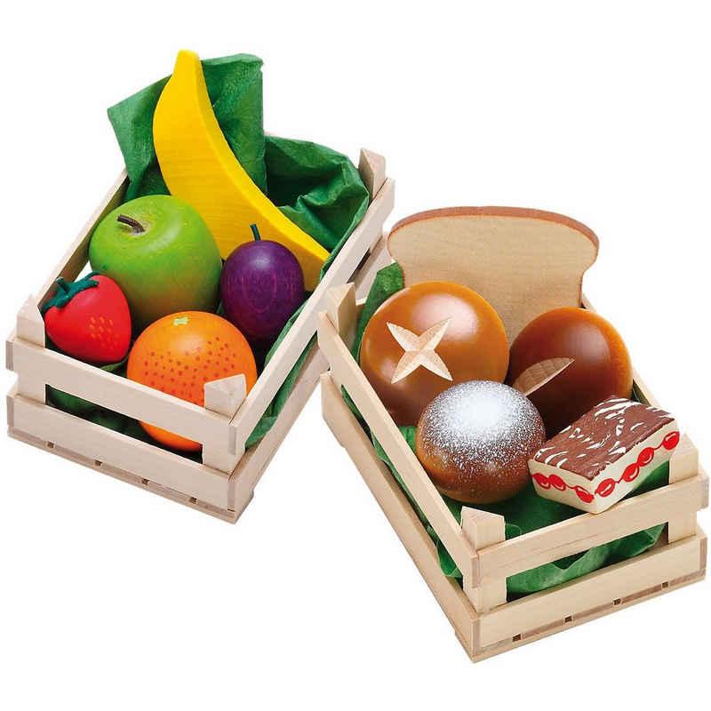 Erzi® Spiellebensmittel »Spiellebensmittel Set Obst+Backwaren aus Holz«
