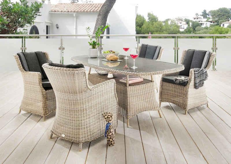Destiny Essgruppe »LUNA«, (Set, 13-tlg), 4 Sessel und Tisch, pflegeleichtes Polyrattan, mit Auflagen