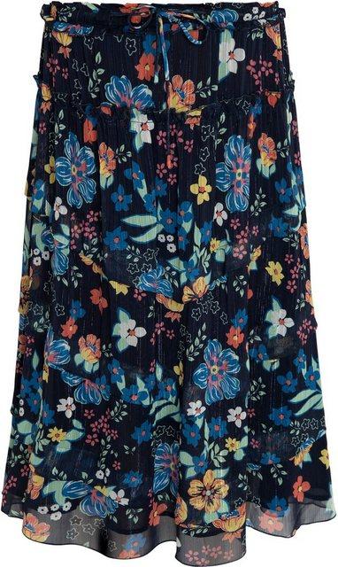 Pepe Jeans Volantrock mit Blumenmuster und glitzernen Streifen | Bekleidung > Röcke > Jeansröcke | Pepe Jeans