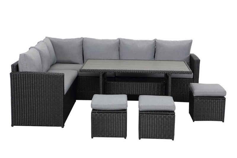 MeXo Gartenmöbelset, Rattan Essgruppe 7 Stück Lounge Gartensofa Outdoor für 6-9 Personen mit Tisch Ottomane Polyrattan mit Auflagen