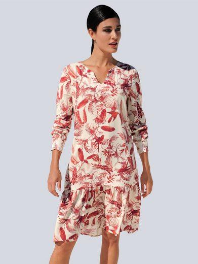 Alba Moda Druckkleid mit modischem Tropical-Dessin