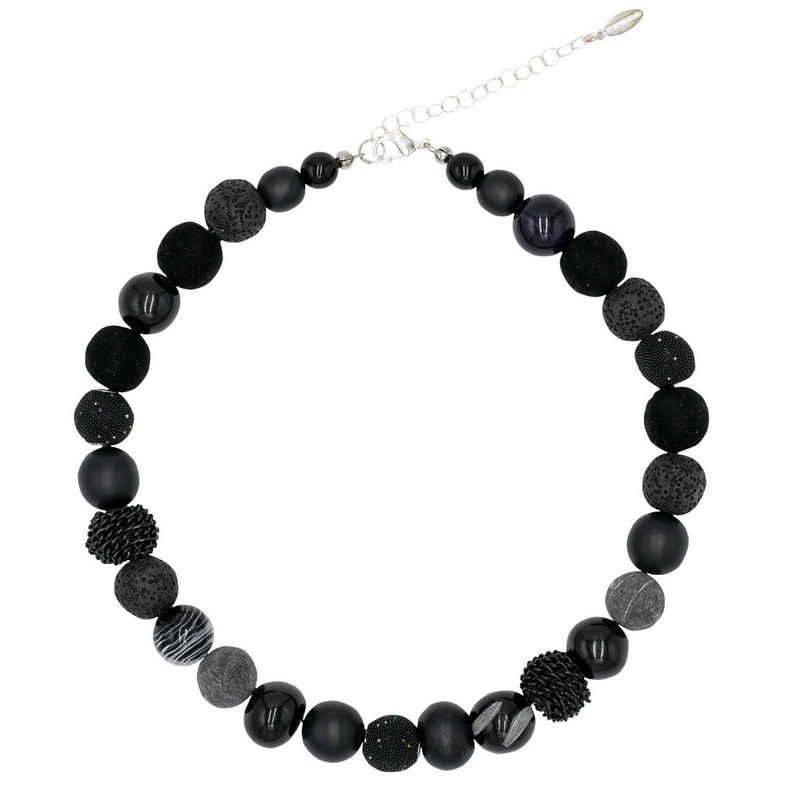 Feliss Perlenkette »Black Beauty« (inkl. Organza-Beutel), 45 cm lang, Kette für Damen, Made in Germany, mit Glas- Rocailles und Keramikperlen