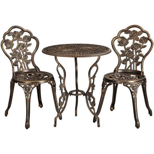 Yaheetech Balkonset, 3tlg. Bistro Set Gartenset mit Stühlen Gartenmöbel-Set Zwei Sitzhocker Gartenmöbel im antiken Stil Aluguss Bronze