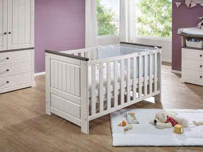 Moebel-Eins Babybett, TINKA Babybett 70x140 cm, Material Massivholz, Kiefer weiss/grau
