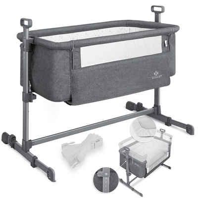 KESSER Kinderbett, Beistellbett Babys Reisebett weich mit Matratze rollen Kinderbett Zustellbett 5-fach Höhenverstellung faltbare Seitenwand für zu Hause und unterwegs