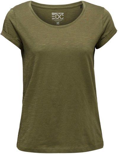 edc by Esprit Print-Shirt mit kurzen Ärmeln mit Umschlagsaum
