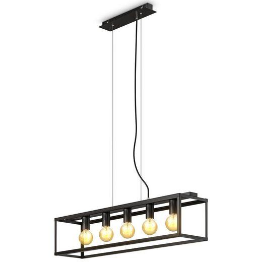 B.K.Licht LED Pendelleuchte, Deckenleuchte schwarz-matt, 5-flammig, E27 Fassung, höhenverstellbare Pendellampe, retro & industrial Design, Metall Esszimmer Wohnzimmer Halogen / LED
