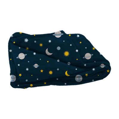 Tagesdecke, dynamic24, Kinder Flanell Kuscheldecke 125x150 Weltall Astronaut Wohndecke Decke