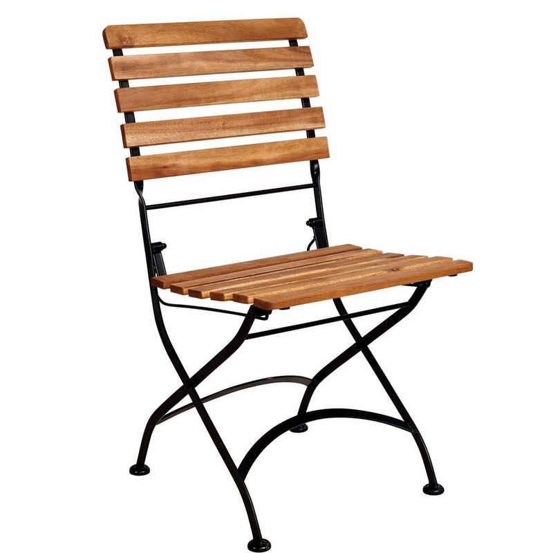 BUTLERS Klappstuhl »PARKLIFE Klappstuhl«, Gartenstuhl in Schwarz-Natur - klappbarer Stuhl aus Akazienholz und Metall - Balkonstuhl