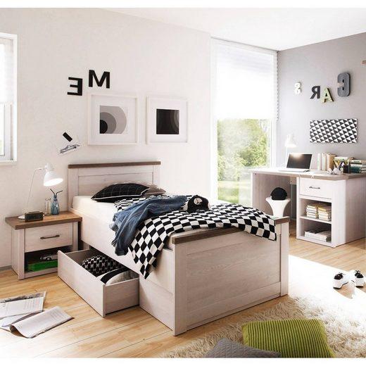 Lomadox Jugendzimmer-Set »LUND-78«, (Sparset), Jugendzimmer 3-tlg., Landhaus Stil, Pinie weiß Nb./Trüffel Eiche