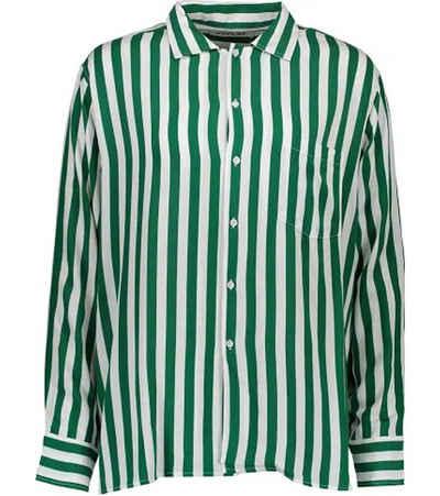 Replay Hemdbluse »REPLAY Kent Kragen-Bluse gestreifte Damen Hemd-Bluse mit langen Armen Freizeit-Bluse Grün/Weiß«